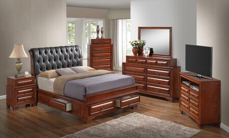 G8850E-FB5BDMNCMC 6-Piece Bedroom Set with Full Size Storage Bed + Dresser + Mirror + Sinlge Nightstands + Chest + Media Chest  in
