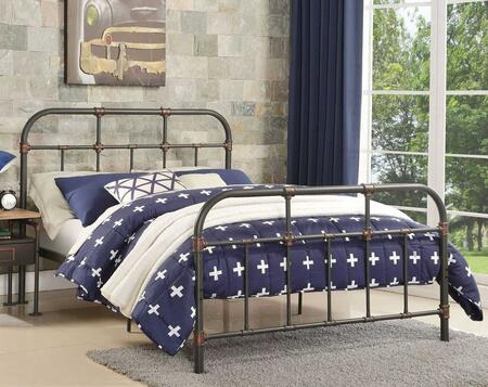 Nicipolis Collection 30735F Full Size Bed with Slat System Included  Industrial Pipe Cast  Industrial Casting Legs and Metal Construction in Sandy Grey