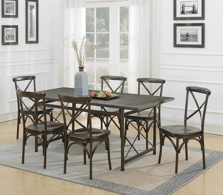 Hawthorne Collection 108751-S7 7-Piece Dining Room Set with Rectangular Dining Table and 6 Side Chairs in Brown and