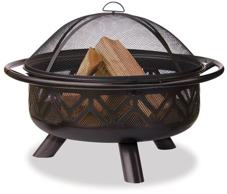 WAD1009SP UniFlame 36 inch  Diameter Woodburning Outdoor Firepit with Geometric Design in Oil-Rubbed Bronze