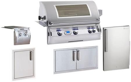 Grill Package with E790I4-E1NW Built In Natural Gas Grill  32814 Double Side Burner  3598-DR Refrigerator  53938SC Double Access Doors  53920SC-SL Single