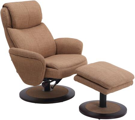 Comfort Chair Collection DENMARK-60-200 17 inch  Denmark Recliner and Ottoman with Alpine Wood Frame  360 Degree Swivel  Adjustable Recline  Lumbar Support and