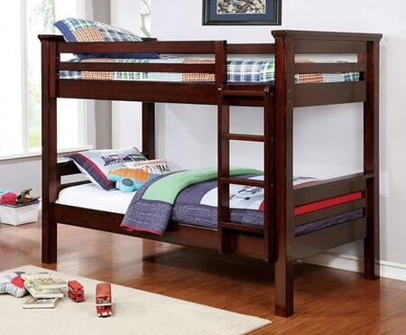 Marcie Collection CM-BK450TT-BED Twin Size Bunk Bed with Attached Ladder  Top Guard Rails  Slats Top/Bottom  Solid Wood and Wood Veneer Construction in Dark