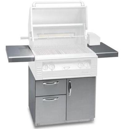 AL-42CD 42 Freestanding Deluxe Grill Cart with Single Access Door  Double Access Drawers  Stainless Steel Construction  2 Side Shelves  and Caster Wheels in