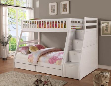 Merlin Collection 9062-WH Twin Over Full Size Bunk Bed with Storage Staircase  Underbed Storage Drawers  Solid Hardwoods and Wood Veneers Material in White