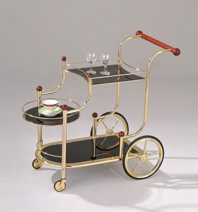 Lacy Collection 98006 38 inch  Serving Cart with 5mm Black Printed Tempered Glass Shelves  Casters  Rubberwood Hand Rail and Metal Construction in Gold Plated