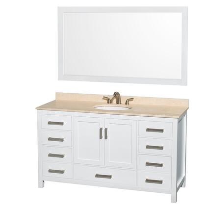 Wcs141460swhivunom58 60 In. Single Bathroom Vanity In White  Ivory Marble Countertop  Undermount Oval Sink  And 58 In.