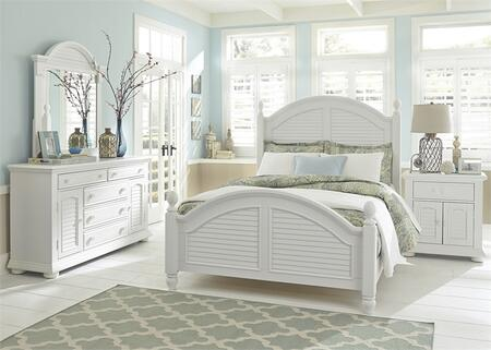 Summer House I Collection 607-BR-KPSDMN 4-Piece Bedroom Set with King Poster Bed  Dresser  Mirror and Night Stand in Oyster White