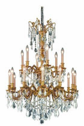 9218D32FG/EC 9218 Rosalia Collection Hanging Fixture D32in H42in Lt: 12+6 French Gold Finish (Elegant Cut