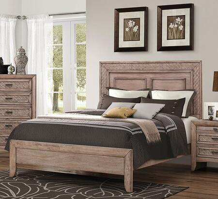 Ireton Collection 26027EK King Size Bed with Low Profile Footboard  Side Rails  Medium-Density Fiberboard