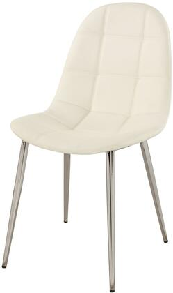 Donna Collection DONNA-SC-WHT Side Chair with Chrome Tapered Legs and PU Leather Upholstery in White