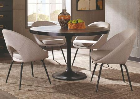 Mayberry Collection 190321-S5-233 5-Piece Dining Room Set with Round Dining Table and 4 Side Chairs in Black and