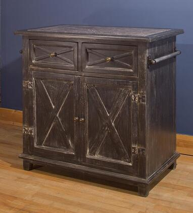 5731-890 Bellefonte 38 X Design Kitchen Island With 2 Top Drawers  2 Doors  Dark Grey Marble Top And Mangifea Indica Construction In Antique Black Carved