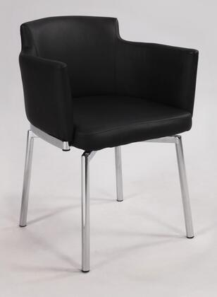 Dusty Collection DUSTY-AC-BLK-KD Arm Chair with Club Style  Swivel Function  Chrome Legs and PU Leather Upholstery in Black