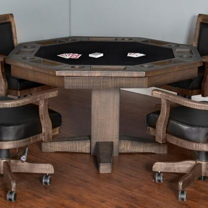 "1033TL 53"""" Reversible Game & Dining Table with Planked Top  8 Cup Holders and Pedestal Base in Tobacco Leaf"" 734692"