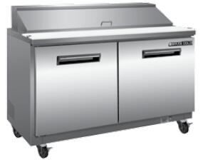 MXCR48M Undercounter Refrigerator and Sandwich Worktop with 12 cu. ft. Capacity  4 Casters  Self Contained  Automatic Defrost  Forced Air Refrigeration and