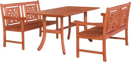 Malibu Collection V189SET50 3 PC Outdoor Patio Dining Set with 2 Benches  Rectangular Shaped Table  Umbrella Hole  Rustic Style and Eucalyptus Solid Wood