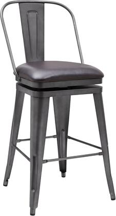 DS-D077 22 inch  Metal Swivel Barstool with All-Metal Construction  360 Degree Swivel Mechanism and Upholstered Seat Cushion in Graphite