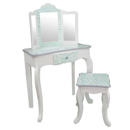 TD-11670C Teamson Kids - Fashion Prints Vanity Table & Stool Set with Mirror - Zebra