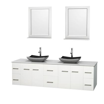 Wcvw00980dwhwsgs1m24 80 In. Double Bathroom Vanity In White  White Man-made Stone Countertop  Altair Black Granite Sinks  And 24 In.