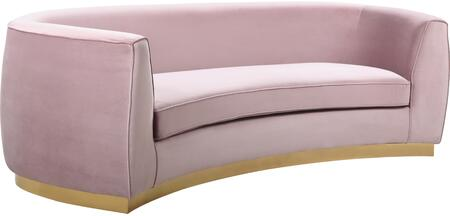 Julian 620Pink-S Sofa with Velvet Upholstery  Gold Stainless Steel Base and Curved Back Design in