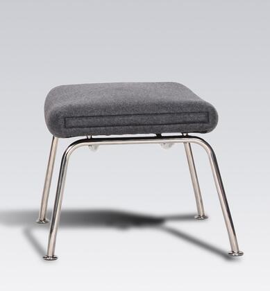 Hoffman FB9788GREYOTT Ottoman with Stainless Steel Legs  High Density Foam and Fabric Upholstery in