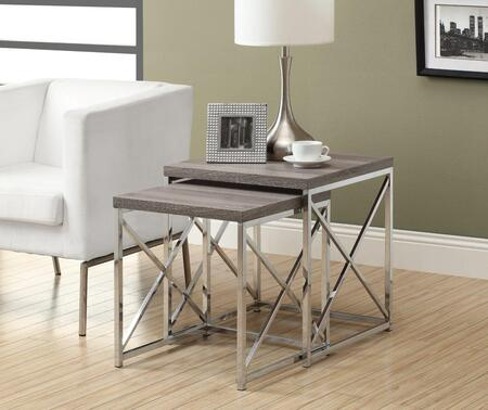 I 3255 Nesting Table - 2pcs Set / Dark Taupe with Chrome