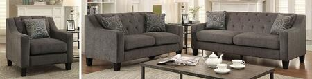 Marlene Collection CM6096-SLC 3-Piece Living Room Set with Stationary Sofa  Loveseat and Chair in