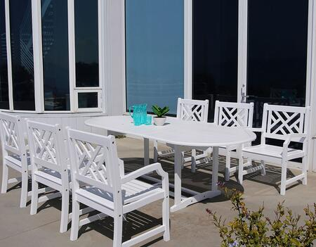 V1335SET13 Bradley Outdoor 7-Piece Wood Patio Dining Set With Extension Table In