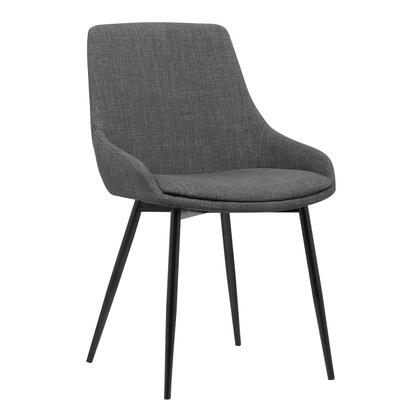Mia Collection LCMICHCH Contemporary Dining Chair in Charcoal Fabric with Black Powder Coated Metal