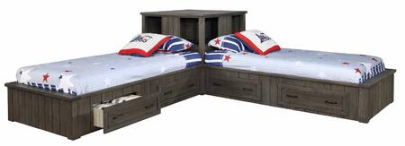 Napoleon Collection 400931T+400937 3-Piece Bed Set with 2x Twin Beds and Corner Cabinet in Gunsmoke