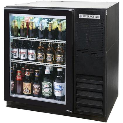 BB36GF-1-B-27 36 inch  One Glass Door  Food Rated Back Bar Refrigerator   8.8 cu. ft. Capacity  with Black Exterior Finish  Side Mounted Compressor and 2 inch  Stainless