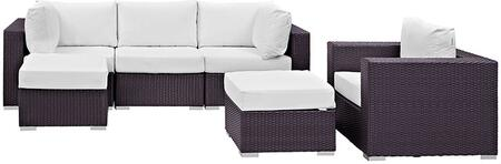 Convene Collection EEI-2207-EXP-WHI-SET 6 PC Outdoor Patio Sectional Set with Powder Coated Aluminum Frame  Waterproof Nonwoven Fabric Inner Cover and