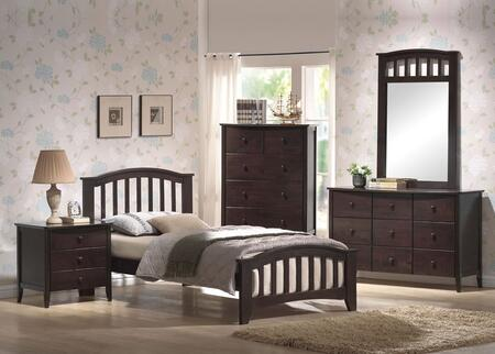 04980TDMCN San Marino Twin Size Bed + Dresser + Mirror + Chest + Nightstand in Dark