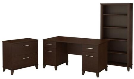 Somerset WC81828K-65-80 3-Piece Desk Set with 5 Shelf Bookcase and Lateral File Cabinet in Mocha Cherry