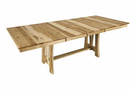Cattail Bungalow CATNT6300 68 inch -96 inch  Trestle Table with Two 18 inch  Leaves  Solid American Hickory Construction and 5-Step Polyurethane Finish in a Natural