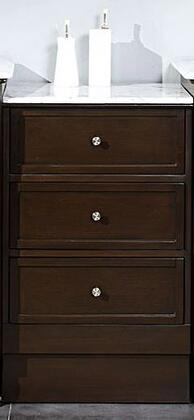 HYP-0902-WM-M Drawer Bank with 3 Drawers  Carrara White Marble Top and Simple Metal Pulls in Dark Walnut