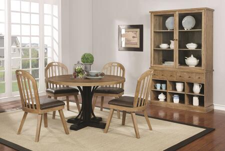 Bishop Collection 1077606set 6 Pc Dining Room Set With Round Dining Table + China Cabinet + 4 Side Chairs In Drifted Pine And Dark Coffee