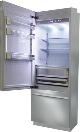BKI24B-LO 24 inch  Brilliance Series Built In Bottom Freezer Refrigerator with TriMode  TotalNoFrost  3 Evenlift Shelves  Door Storage and LED Lighting: Stainless
