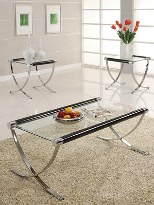 Ola 18420CET 3 PC Living Room Table Set with Coffee Table + 2 End Tables in Chrome Plated