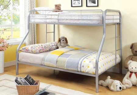 Rainbow Collection CM-BK1033-SV-BED Twin Over Full Size Bunk Bed with Both Sides Attached Ladder  Improved Rail Reinforcement and Metal Construction in Silver