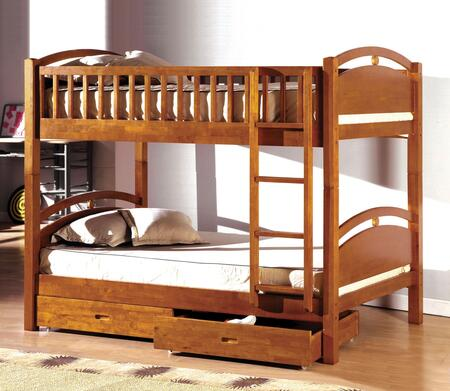 California I Collection CM-BK600A-BED Twin Size Bunk Bed with 2 Drawers Included  Recessed Handles  10 PC Slats Top and Bottom  Solid Pine and Plywood Veneers