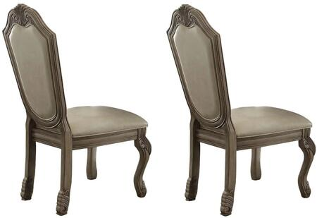 Chateau de Ville Collection 64067 Set of 2 Side Chairs with Arched Crown  Leaf Motifs  Queen Anne Legs  Engineered Wood Construction and PU Leather Upholstery