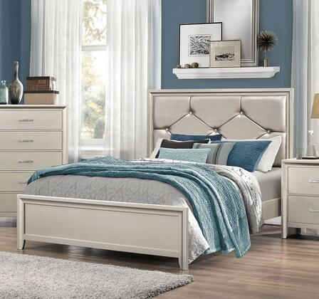 Lana Collection 205181F Full Size Panel Bed with Leatherette Upholstered Headboard  Button Tufting  Clean Line Design and Low Profile Footboard in