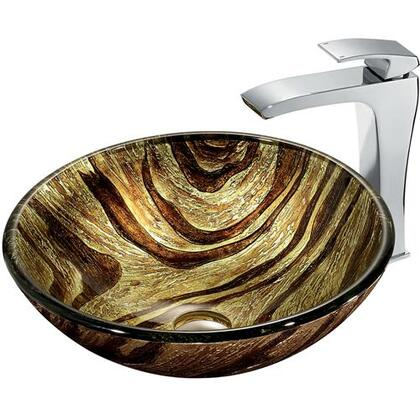 VGT178 Zebra Glass Vessel Sink and Faucet Set in