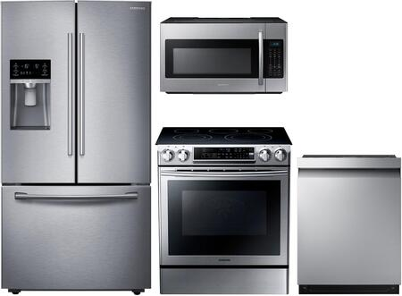 4-Piece Kitchen Package with RF23HCEDBSR 36 inch  Counter Depth French Door Refrigerator  NE58F9500SS 30 inch  Slide-in Electric Range  ME18H704SFS 30 inch  Over the Range