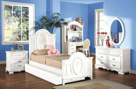01680TBDMDCTN Flora 7 PC Set Twin Size Panel Bed + Dresser + Mirror + Desk + Chair + Trundle + Nightstand in White
