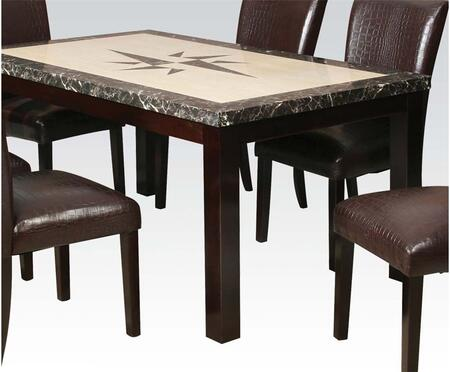 Alec Collection 70730 64 inch  Dining Table with Faux Marble Top and Square Block Legs in Espresso