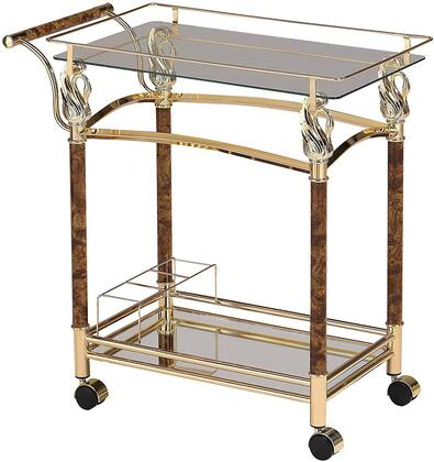 Helmut Collection 98002 29 inch  Serving Cart with 5mm Clear Tempered Glass Top  Bottom Glass Shelf  Casters  Wine Rack and Polished Metal Edges in Gold Plated