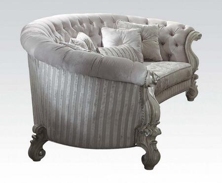 Versailles Collection 52085 109 inch  Sofa with 5 Pillows  Ivory Velvet Upholstery  Crescent Shape  Loose Seat Cushions  Button Tufted Back  Floral Removable Fabric